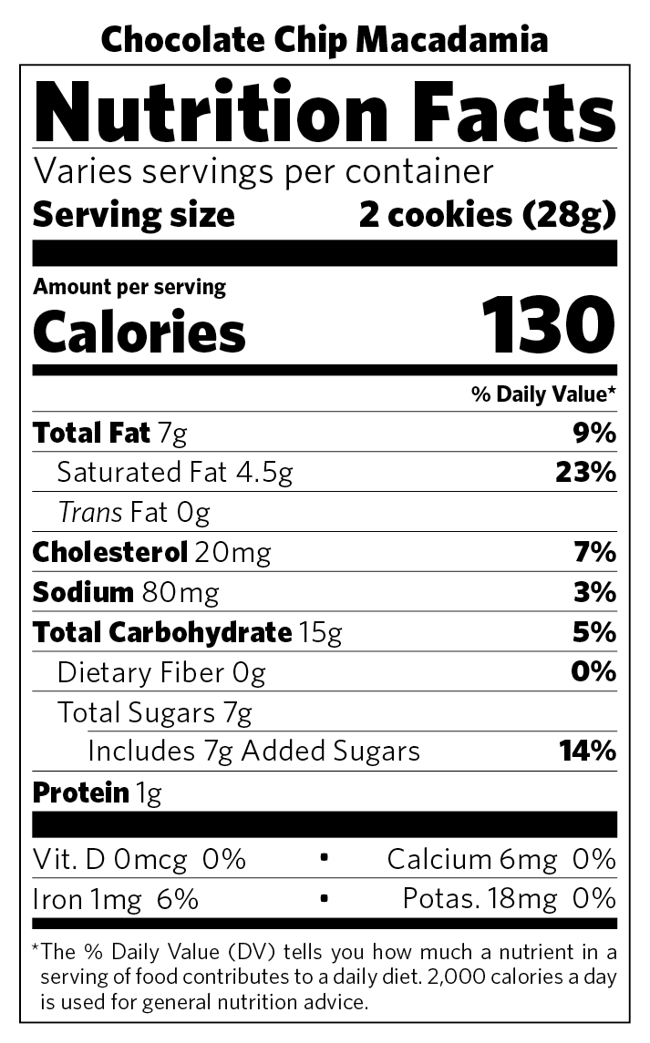 Chocolate Chip Macadamia nutritional information