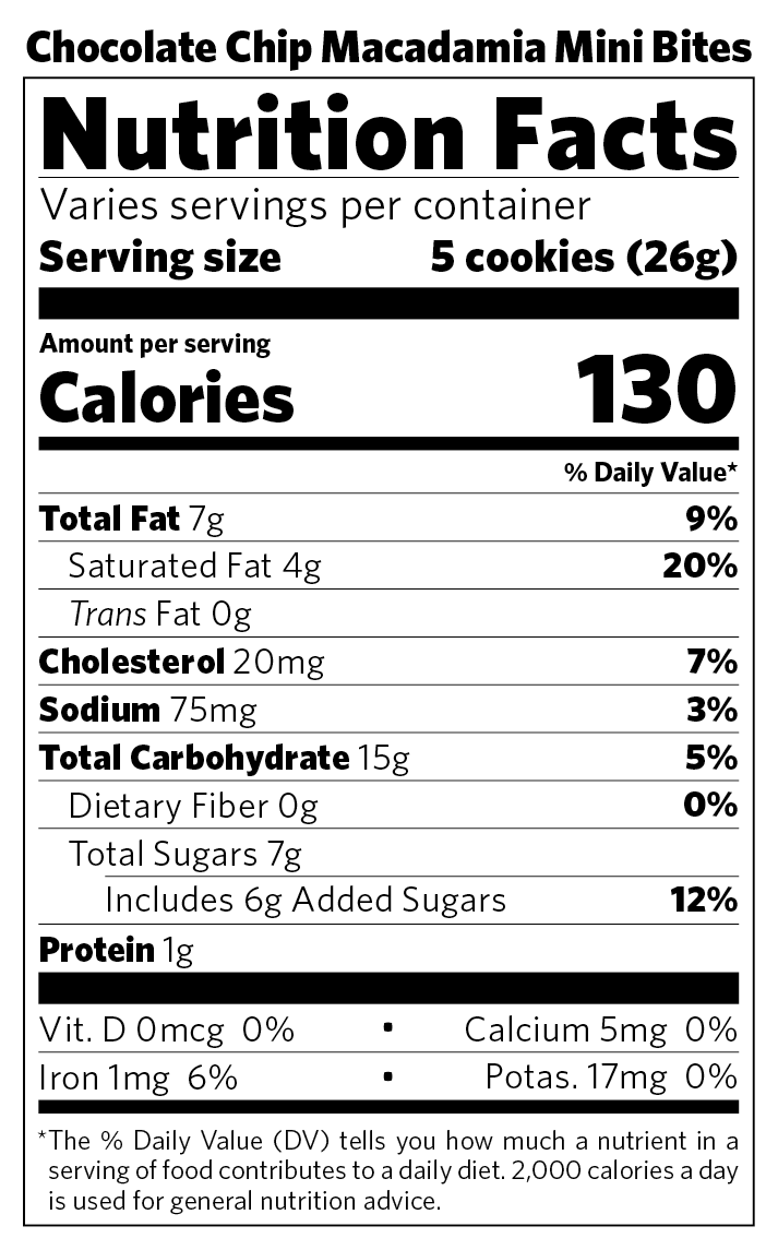Chocolate Chip Mini Bites nutritional information