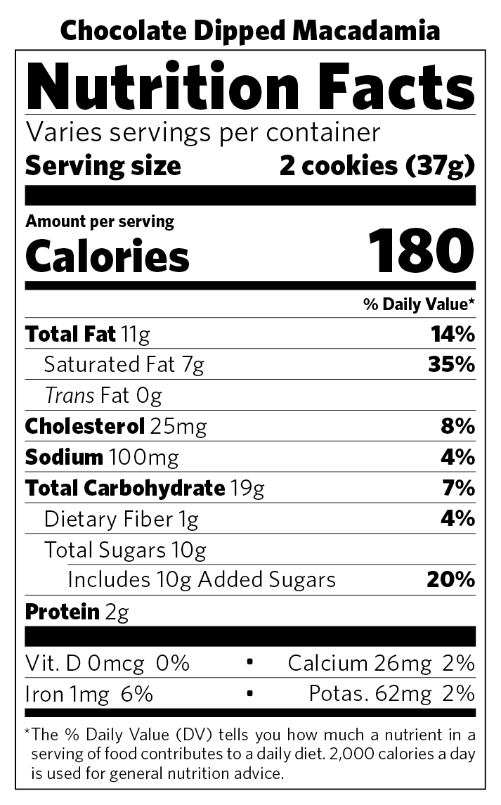 Chocolate Dipped Macadamia nutritional information