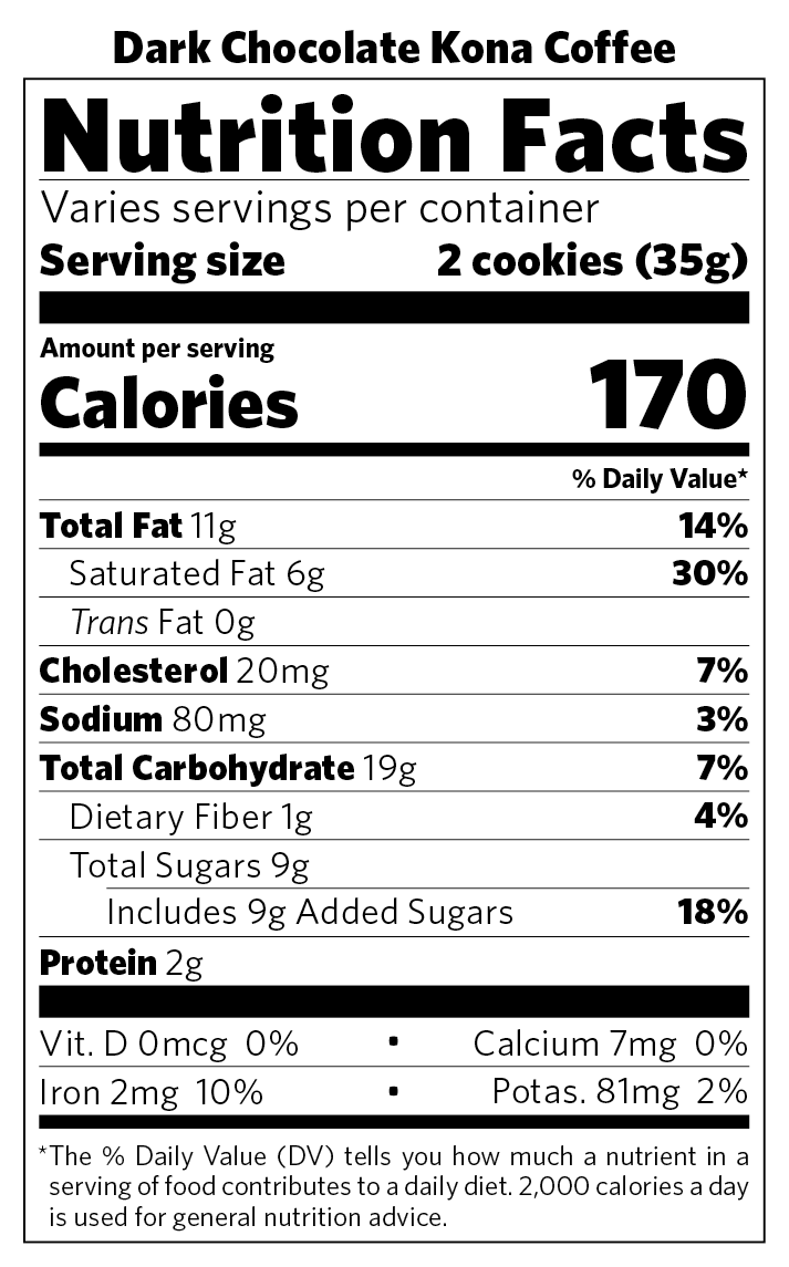 Dark Chocolate Kona Coffee nutritional information