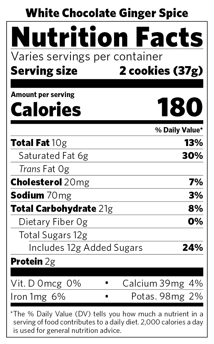 White Chocolate Ginger Spice nutritional information