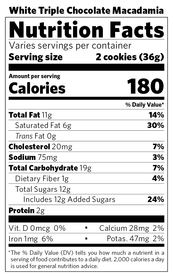 White Triple Chocolate Macadamia nutritional information