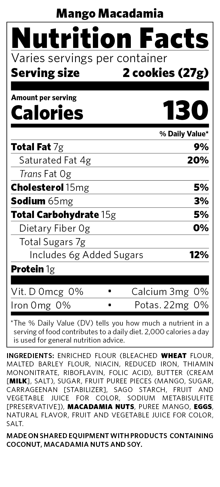 Nutritional Facts Cookie Gifts Honolulu Cookie Company