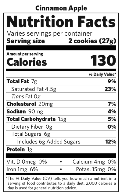 Cinnamon Apple nutritional information