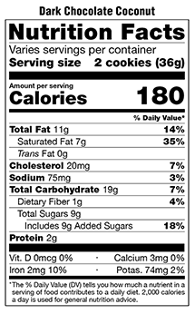 Nutritional Facts-Cookie Gifts-Honolulu Cookie Company
